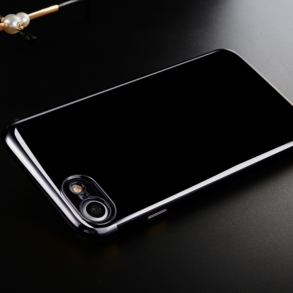Fashion Eletraplated Bumper Case For iPhone 6 6S 7 8 Plus Back Cover iPhone7plus Slim Thin Shell ip8 TPU Cases Luxury Black Jet