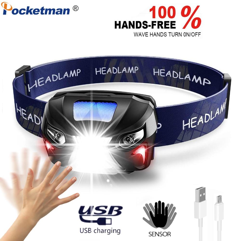 Powerful Motion Sensor LED Headlight Powerful USB Rechargeable Headlamp Sensor Head Light Head Torch Head Lamp With USB Cable