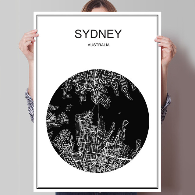 Australien Sydney Moderne Weltkarte Stadt Poster Abstrakt Druck Bild  ölgemälde Leinwand Beschichtetes Papier Cafe Wohnzimmer Decor