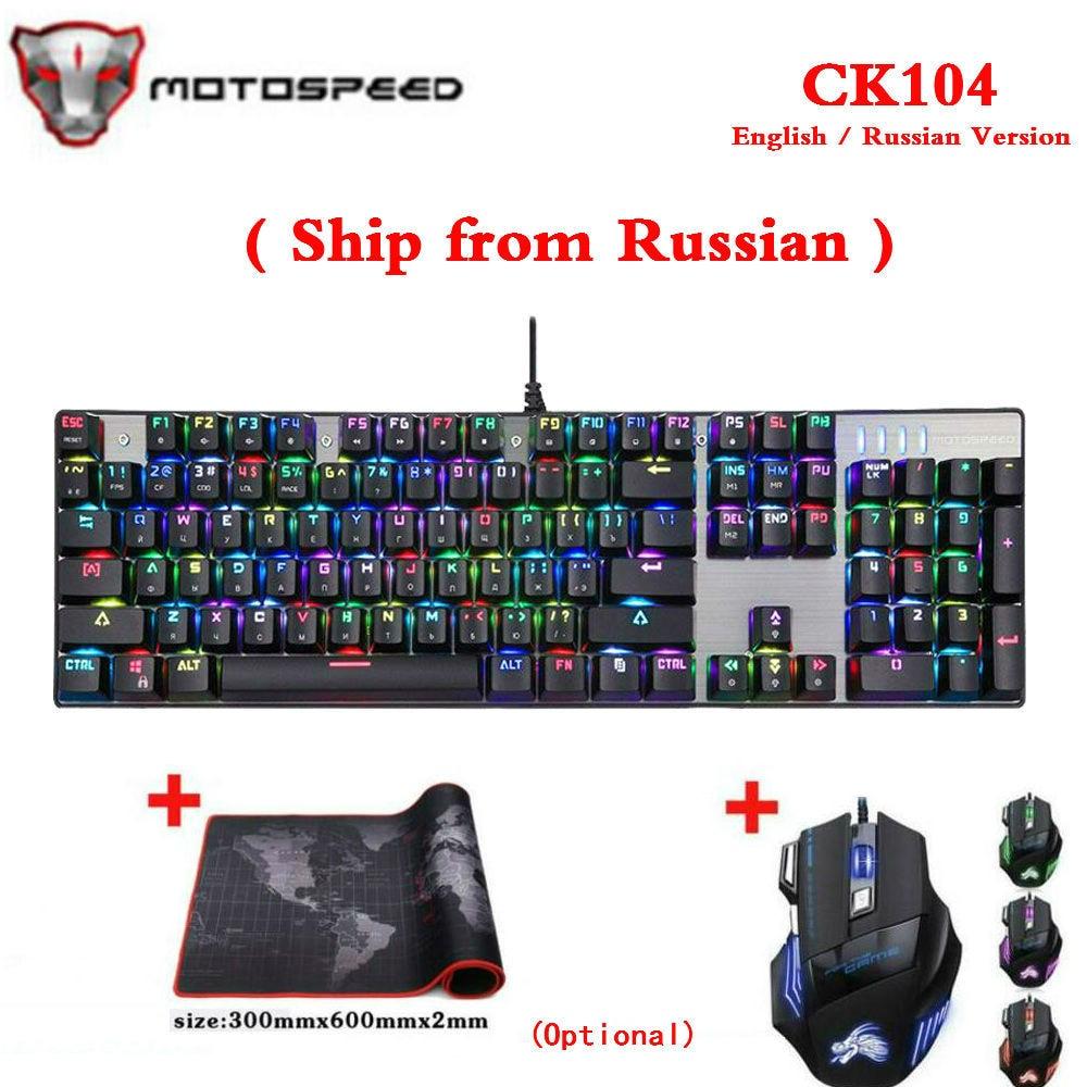 (Nave de Rusia) original Motospeed CK104 Metal teclado M200 Gaming Teclado mecánico con cable RGB Anti-Ghosting para ordenador