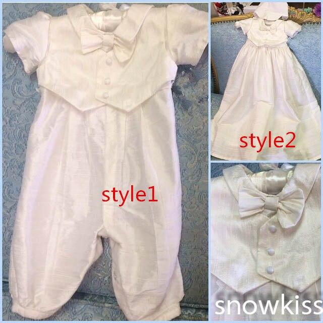 2018 Christening Gown with Bonnet Infant Boy Baby Pant Suit Baptism Dress