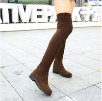 2016 Fashion Knitted Women Knee High Boots Elastic Slim Autumn Winter Warm Long Thigh High Boots