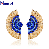 New Retro Detachable Fan Shape Stud Earrings Fashion Jewelry Colorful Crystal Earrings for Women Chic & Charming Brand Jewelry