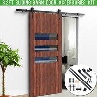 8 2ft 2 5m Sliding Barn Door Hardware Interior Closet Track Carbon Steel Rollers Set Carbon