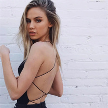 Strappy Backless Bodysuit Scoop Neck Cross Slim Cami Bodysuit hot Sexy jumpsuit 2018 Summer lace panel strappy cami bandeau