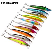 FISHINAPOT 1PCS Fiske Lure 3D Eyes 9.5cm 7.8g Minnow Hard Aritlärt lock Crankbait Plastbeten Carp Fishing Wobblers