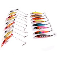 17pcs Fishing Lures Set Mixed 2 Models Soft Shrimp Lure Minnow Hard Baits Artificial Professional Bass