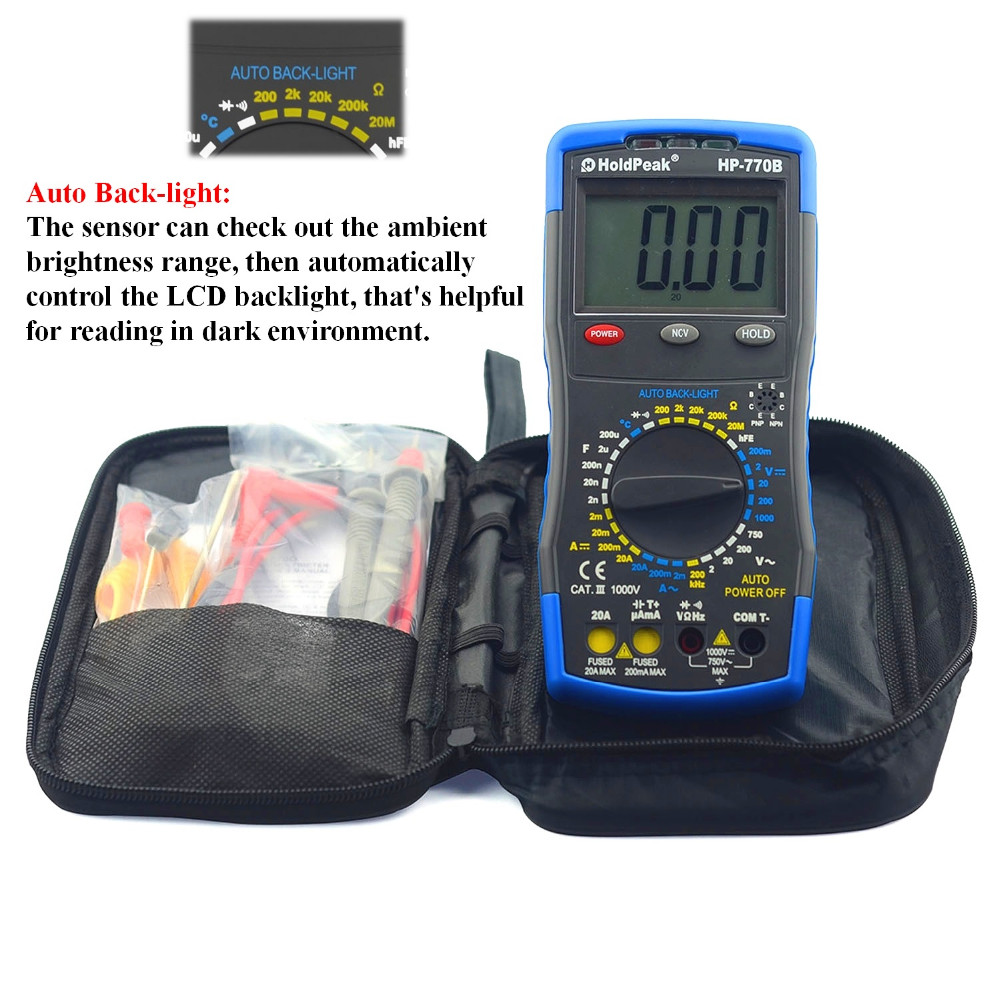 Ture rms HoldPeak HP-770B Digital Multimeter Meter with NCV Feature and Frequency/Dide/hFE Test multimetro holdpeak hp 770c digital lcr multimeter meter with ncv feature and inductance frequency test