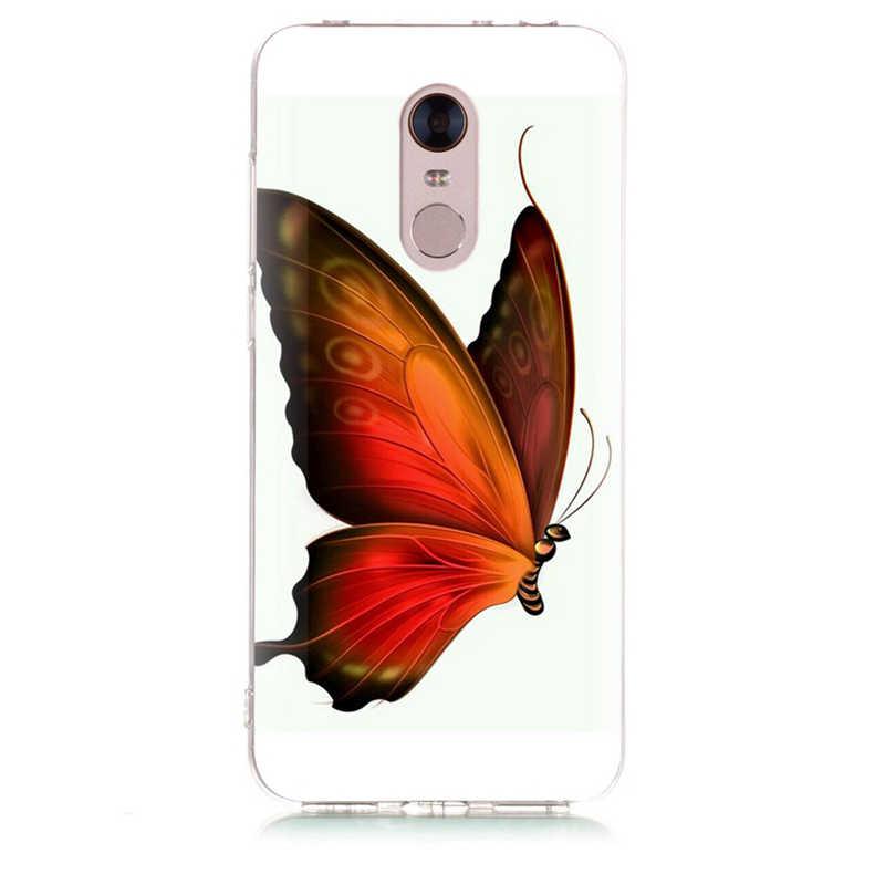 Étui pour Xiao mi rouge mi 4X Note 3 mi A1 Note 4 Pro 4A Note 5 6 6pro pour rouge mi 5A 6 6A TPU doux papillon crâne peint étui D031