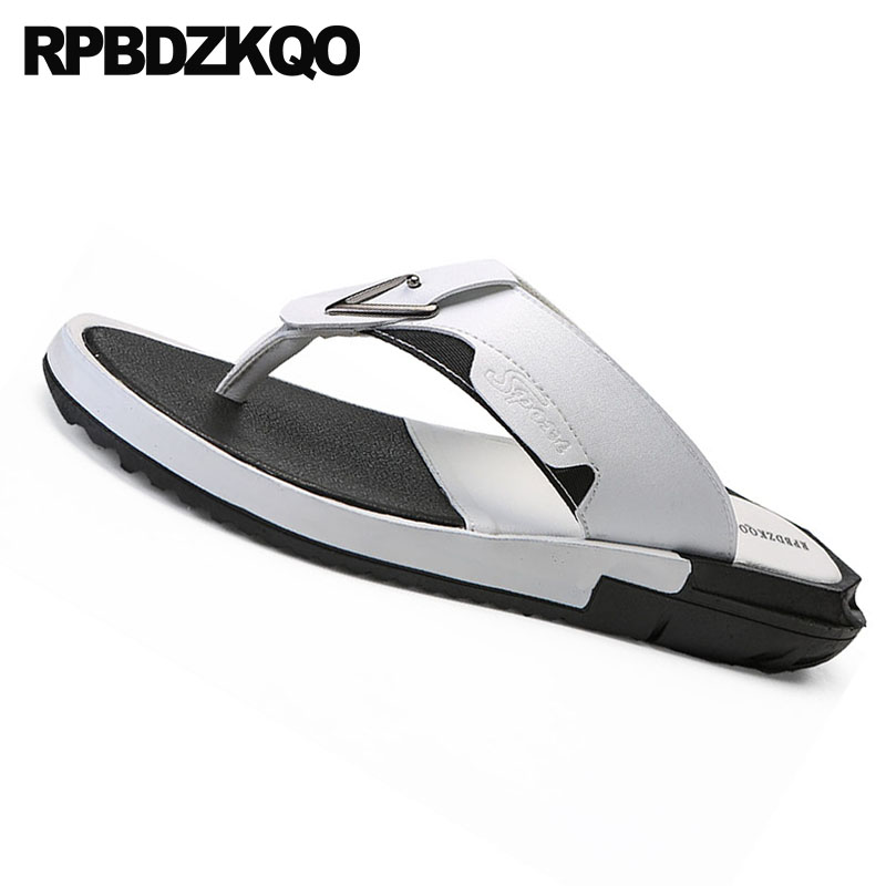 Sapatos Flip Alta Qualidade Prova Flop Verão Água Moda Couro À Designer branco Tamanho Sandálias Homens D' Slides Grande Chinelos De Preto Brancas 45 Dos Eq40nzw