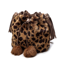 Leopard bag Rabbit Fur Women Bag Women Messenger Bags Shoulder Cross Chain Bucket Bag Winter Soft Lady Designer 2018 New цена