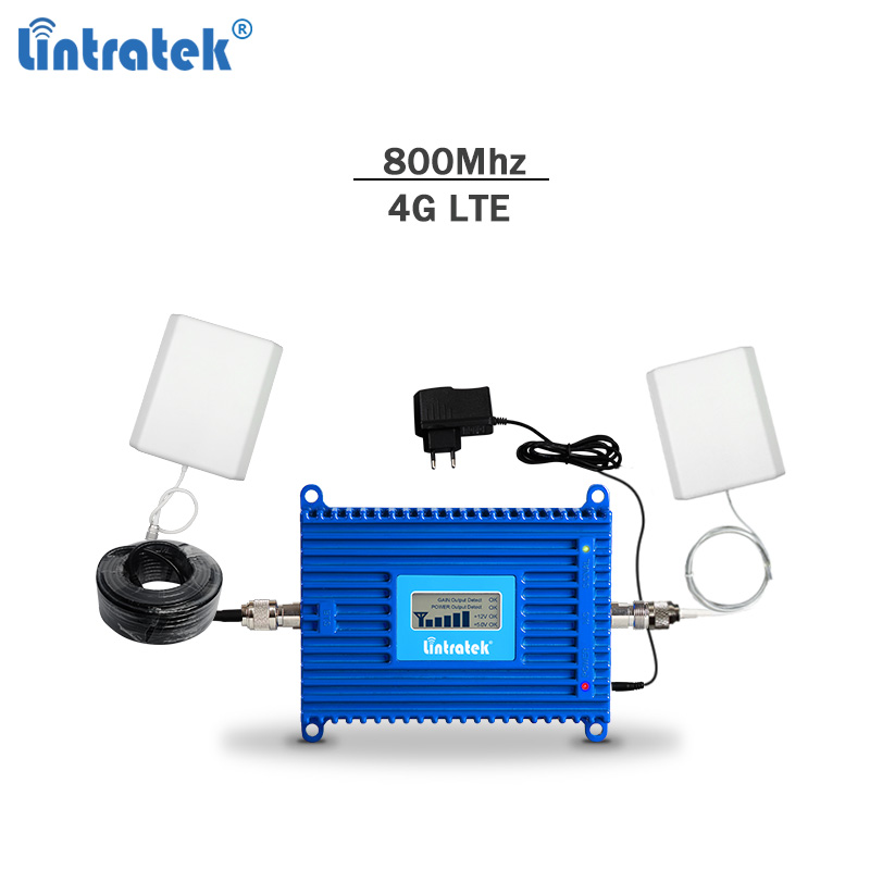 Lintratek signal repeater 4g 800Mhz booster 4g signal amplifier lte 4g lte repeater lte amplifier 4g signal booster Band 20 #68-in Signal Boosters from Cellphones & Telecommunications    1