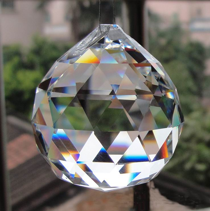 цены 2pcs 50mm Clear faceted glass Crystal Prisms Balls for Chandelier parts Crystal suncatcher hanging pendants For Lamps decoration