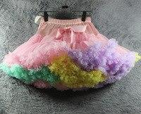 New Girls Fluffy Chiffon Rainbow Colors Tutu Skirts Girl Dance Skirt Christmas Tulle Petticoat Matching Mother