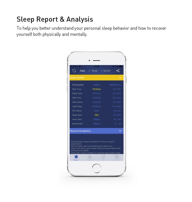 Sleep ECG Monitor HRV Heart Rate Respiratory