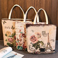 YILE Zippered Handbag Eco Shopping Tote Jacquard Weave Fabric Flower Butterfly Tower 240abc
