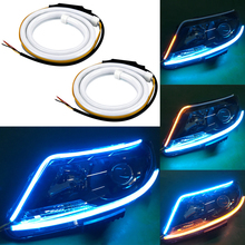 Car styling 2pcs 60cm Car Auto Amber White Sequential Flow Strip LED Flexible DRL Headlight Turn Signal Switchback Light Lamp zauleon 2pcs 1157 led switchback bulb white amber yellow led dual color for car drl front turn signal light