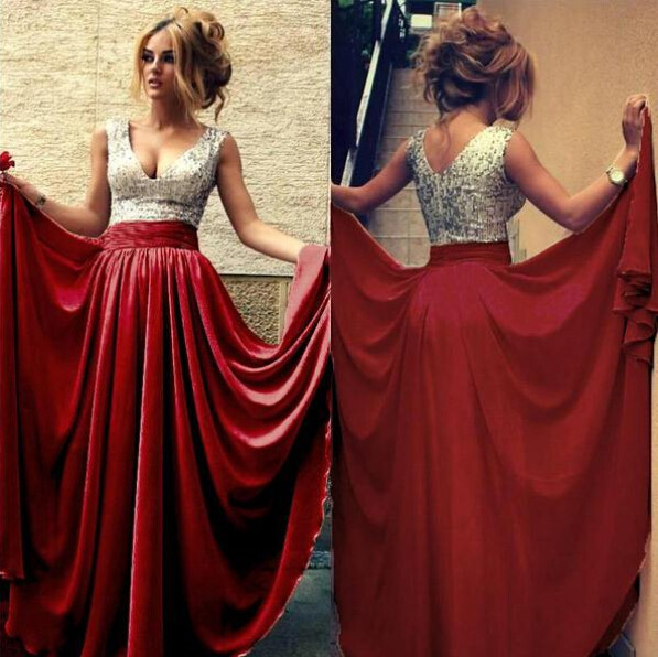 2017 hot Cheap   Bridesmaid     Dresses   Under 50 A-line Deep V-neck Champagne Chiffon Sequins Long Wedding Party   Dress   plus size 2-26w