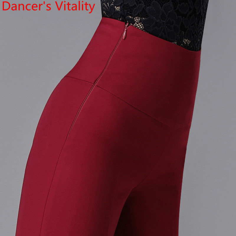 New Modern Latin Ballroom Dance Women Long Loose Pants Practice Trousers Black Red 2 Colors National Standard Waltz Jazz Clothes 4