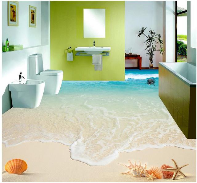 High Quality Beautiful Seascape Wave Beach Shells And Starfish 3D Floor Bathroom Pvc  Wallpaper Home Decoration