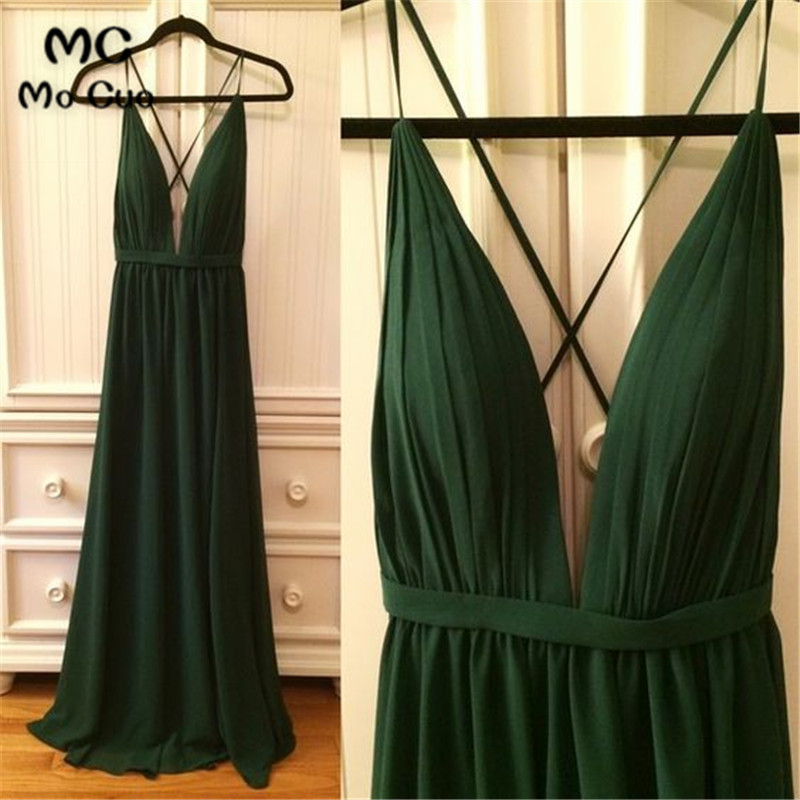 Dark Green Prom Wedding Party   Dress   Deep V-Neck Maid of Honor vestido longo de festa Backless Chiffon Prom   Bridesmaid     Dresses