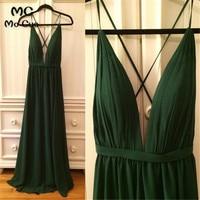 Dark Green Prom Wedding Party Dress Deep V Neck Maid of Honor vestido longo de festa Backless Chiffon Prom Bridesmaid Dresses