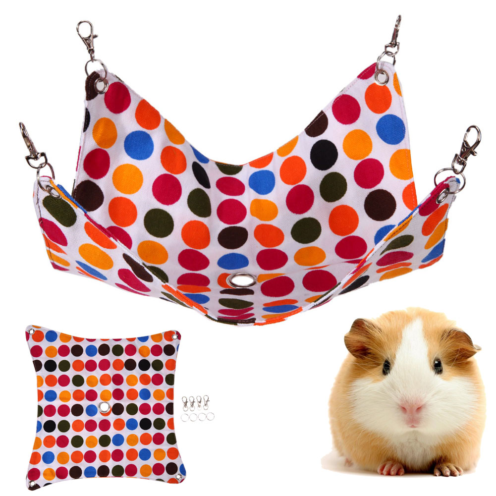 Dot Pet Hamster Hammock Small Pet Canvas Hanging Blanket Mat Hammock Swing Bed House Cage Toy With Hole For Squirrels Guinea Pig