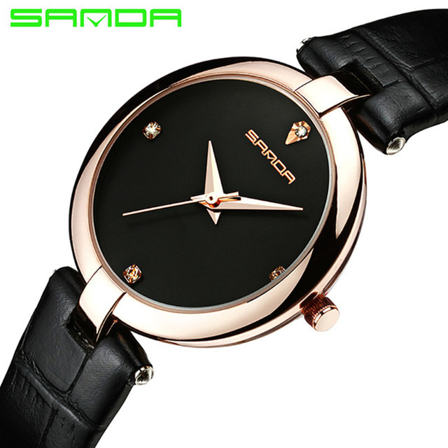 SANDA Fashion Women's Watches Women Leather Watches Luxury Quartz Watches Diamon