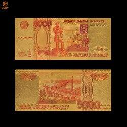 Российские золотые красочные банкноты 5000 рублей в 24-каратным золотом, копия банкнот, коллекция банкнот для подарка