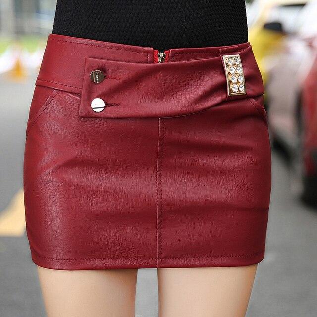 dbd0b63da0664d € 29.16 |FANTASYONE nouvelle mode 2017 automne/hiver jupe rouge/noir crayon  jupe PU jupe en cuir sexy mini jupe XL dans Jupes de Mode Femme et ...