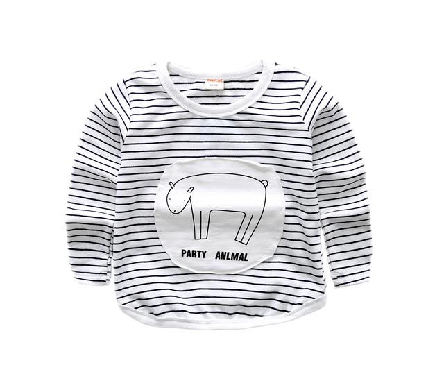 2017 new spring cotton baby boys and girls long sleeve t shirts striped with animal cotton tops for 1-3 years toddler clothes