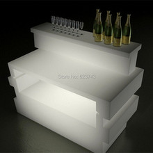 Plastic Multicolor illuminated rechargeable remote control BREAK LINE SQUARE LED Bar Wine table counter lighted smartbar