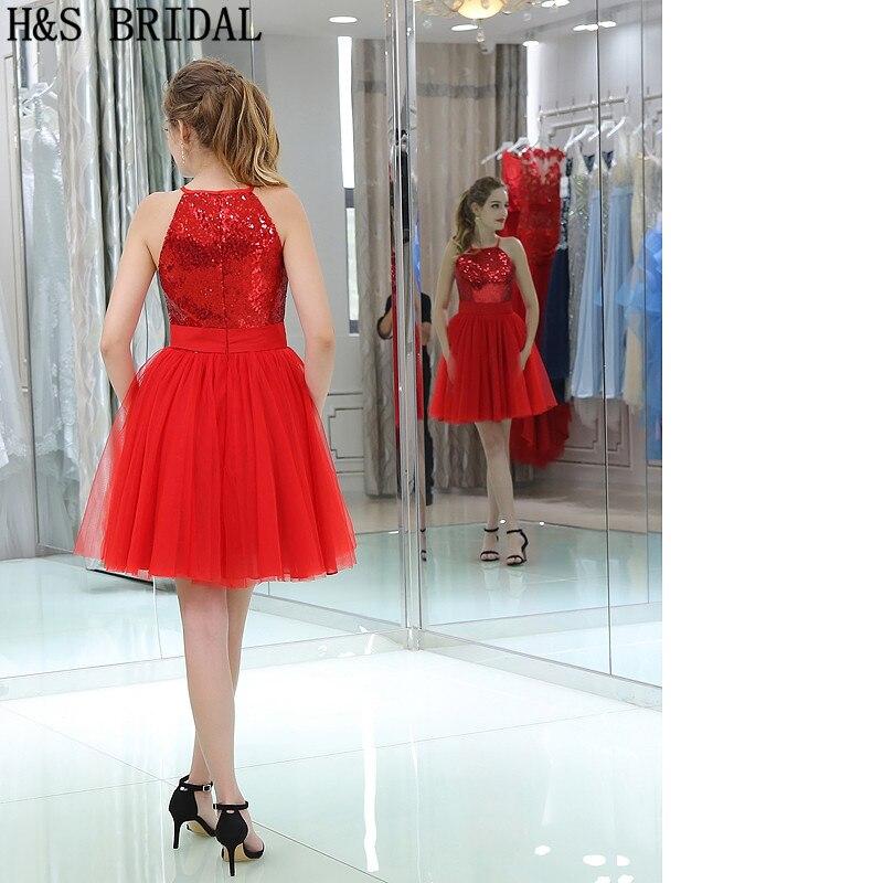 59a8fcec30 H   s Bridal Halter Top Lentejuelas corto vestido de fiesta rojo tul  drapeado Vestidos de baile corto robe de mariee en Vestidos de baile de  Bodas y eventos ...