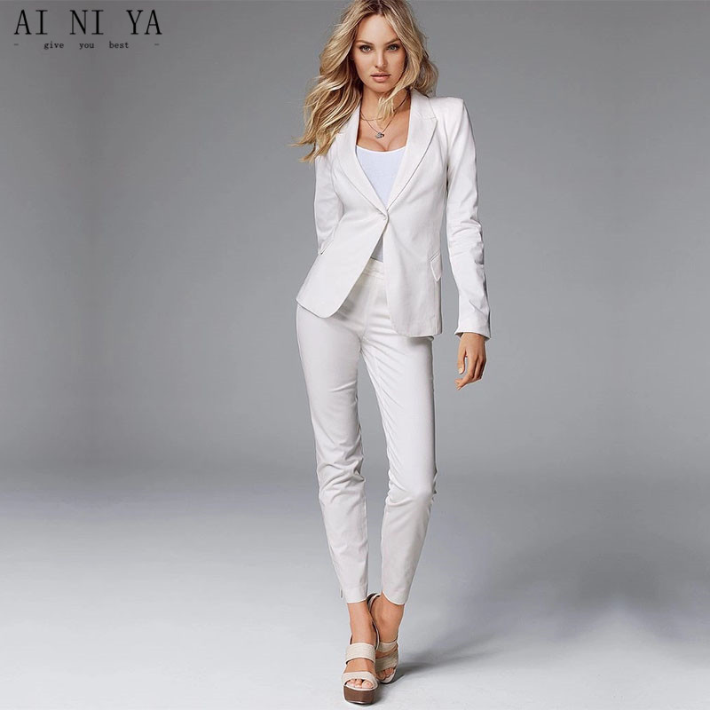 Jacket+Pants White Women Business Suits Slim Fit Formal Womens Pantsuit Office Uniform Style Female Trouser Suit Custom Made 123