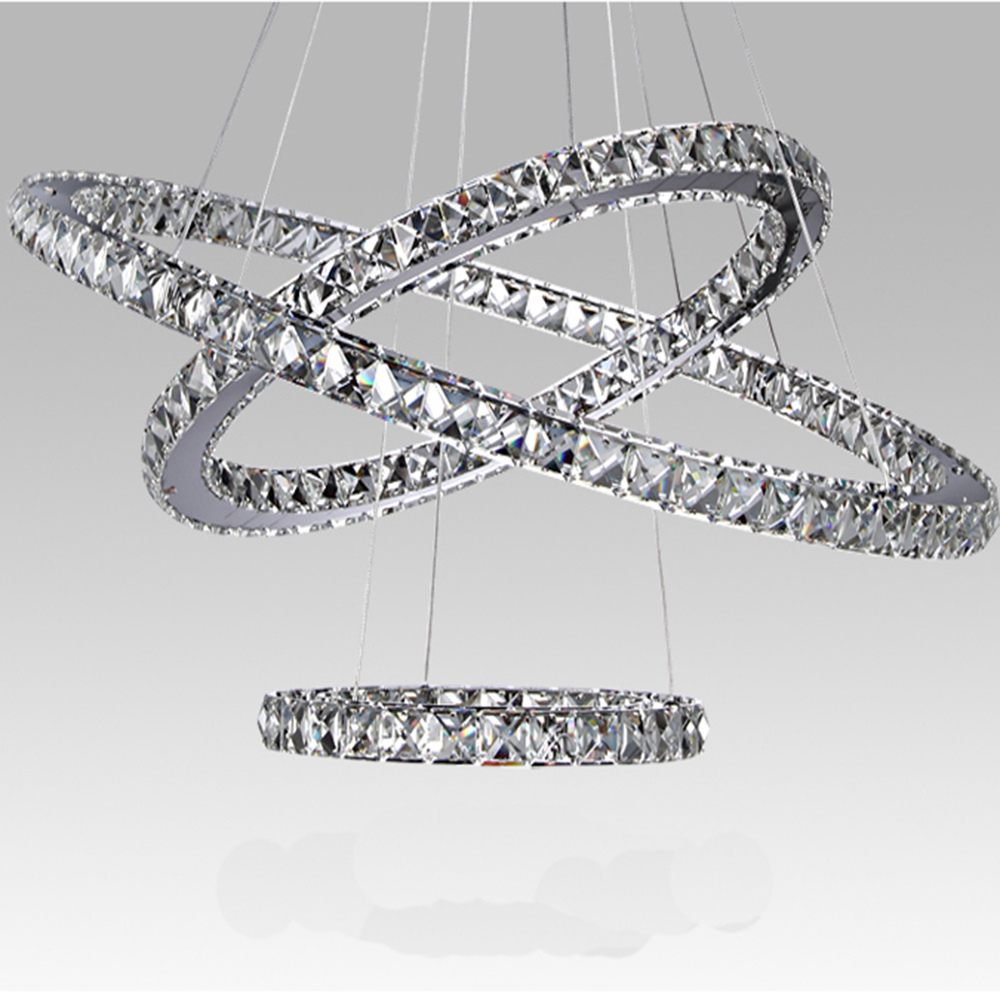 Modern led crystal chandelier light fixture for living room dining modern led crystal chandelier light fixture for living room dining room decorative hanging lamp diamond 3 rings chandeliers in pendant lights from lights arubaitofo Image collections