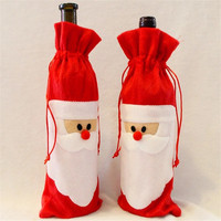 12 Pieces Red Wine Bottle Cover Bags Christmas Dinner Table Decoration Home Party Decors Santa Claus