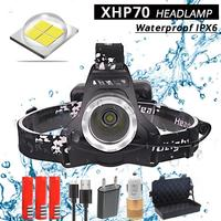 40000LM XHP70 Led headlamp powerful Headlight head lamp usb charging Head Torch lantern 3*18650 battery Hunting Camping Lights