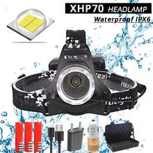 40000LM XHP70 Led headlamp powerful Headlight head lamp usb charging Head Torch lantern 3*18650 battery Hunting Camping Lights(China)