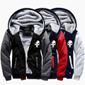 The Punisher Skull Print Thick Warm Winter Hoodie Jacket Fleece Lined Thermal Raglan Sleeve Coat Men Plus Size 4XL