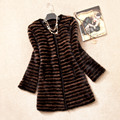 Autumn Women's Real Genuine Knitted Mink Fur Coat Winter Women Fur Outerwear Coats Overcoat VK1361