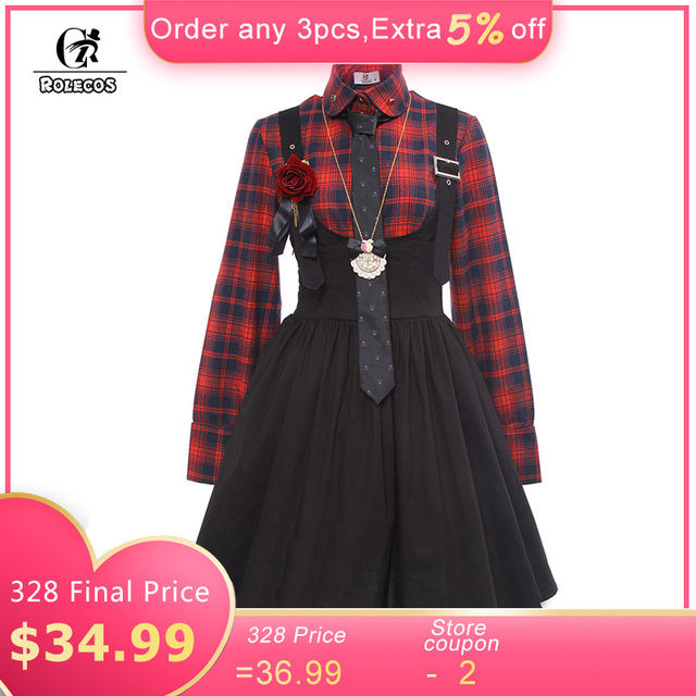 14a28bbd0 ROLECOS New Arrival Gothic Style Women Lolita Dress Plaid Shirt with ...