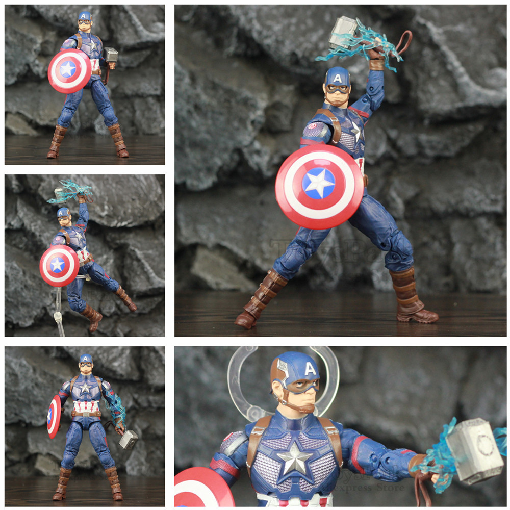 "Marvel Avengers 4 Endgame Captain America Thanos Movie 6"" ~ 8"" Action Figure Mijolnir Steve Rogers Legends Spuer Hero Doll Toys"