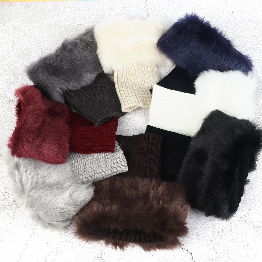 Fake Fur Trimmed On Cuffs Of Sweaters: 1pair Casual Cotton Acrylic Faux Fur Crochet Knit Knee
