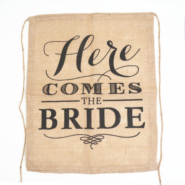 Aliexpress buy here comes the bride flag vintage wedding signs here comes the bride flag vintage wedding signs rustic wedding banners signs burlap wedding decoration 40 junglespirit Image collections