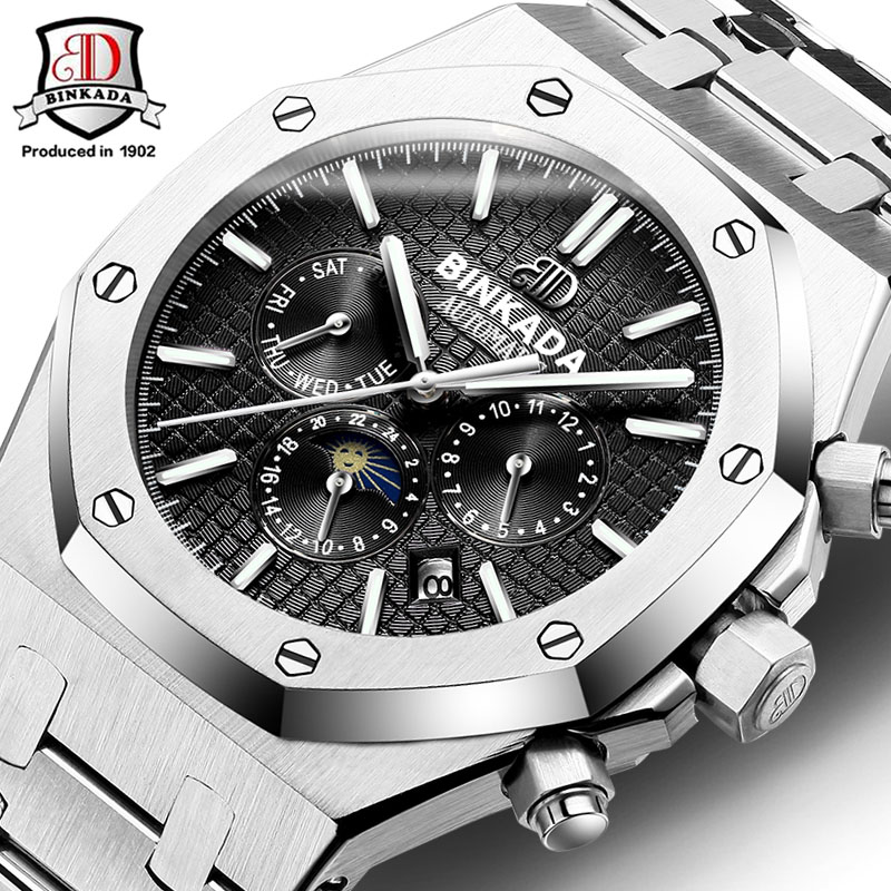 e7e84ba6d53d Famous BINKADA 2017 New Royal Style Mechanical Watches Men Steel Band  Waterproof Automatic Watch AP Style Self Winding Watches-in Mechanical  Watches from ...
