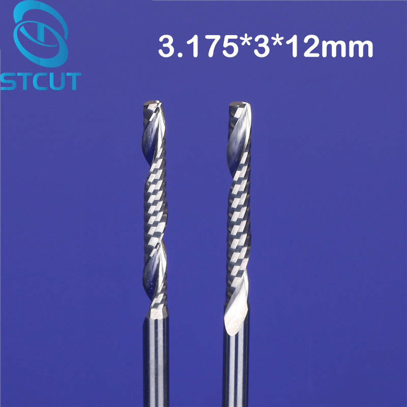 Promotion 10pcs/lot SHK 3.175mm 1/8 CED 3mm CEL 12mm Cnc Bits Single Flute Spiral Router Carbide End Mill Cutter ToolsPromotion 10pcs/lot SHK 3.175mm 1/8 CED 3mm CEL 12mm Cnc Bits Single Flute Spiral Router Carbide End Mill Cutter Tools