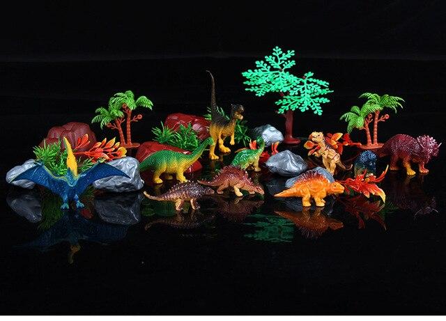 28 unids/set figuras de animales de plástico Tyrannosaurus rex espada dragón Domo dragón muñeca dragón niños dinosaurio juguetes Set regalo para niños