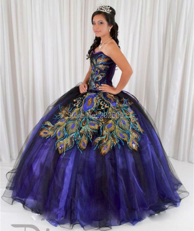Popular Peacock Quinceanera Dresses-Buy Cheap Peacock Quinceanera ...