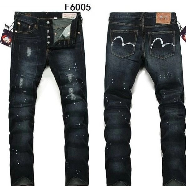 Evisu 2019 Breathable Top Quality Trend Fashion Hole Men Pants Warm Jeans Straight Print Leisure Button Mid Waist Men's Trousers