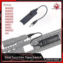 Interruptor de cinta de doble función para linterna Airsoft M300, M600, M951, M952, negro